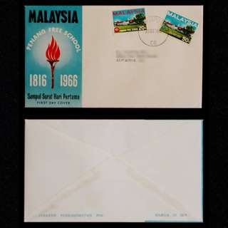 Malaysia-Penang-Free-School-1816-1966-21-October-1966-Postmarked-in-Singapore-00030-FDC