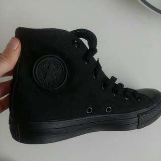 Converse all star black canvas high tops womens 5, mens 3