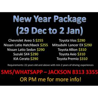 Last 2 cars available for rent for new year! (29 Dec to 2 Jan)