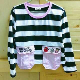 (實穿)粉紅領黑白條紋大口袋長袖T