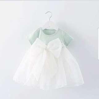 Pastel green ribbon dress