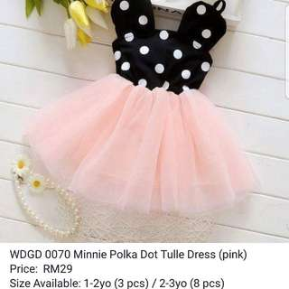 Pink minnie polka dot tulle