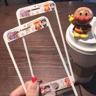 日本可爱红豆面包超人iphone6 7/87plus苹果3D软边全屏前贴钢化膜
