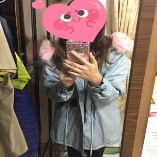 🚚 粉色毛領大衣