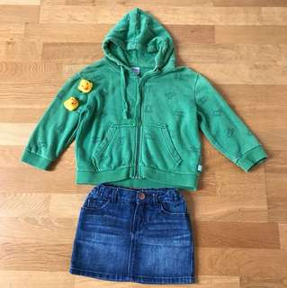 Little Girl Bomber Jacket and Mini Skirt set