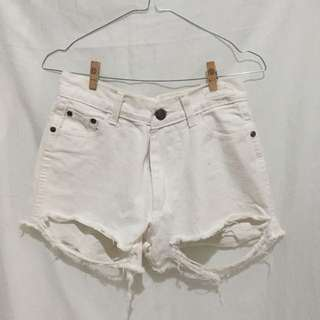 Ripped short white jeans