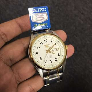 SNKP22J1 Seiko Half Gold Arabic Made In Japan Rare Watch 42mm Steel Unisex FREE DELIVERY