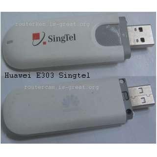 Huawei E303 3G USB Modem Stick (use SingTel SIM card) . another uses M1 SIM