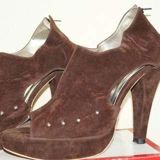 Dark Brown Suede High Heels