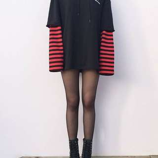 RED & BLACK oversized long sleeve Tee