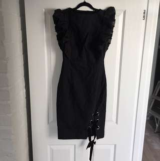 Leo & Lin ruffle evening dress black