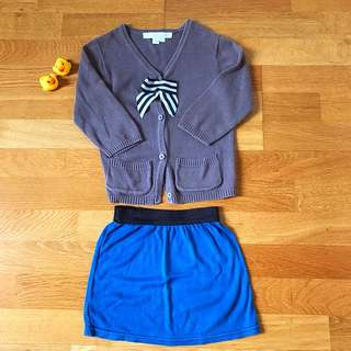 Classic Cardigan and Mini Skirt Set