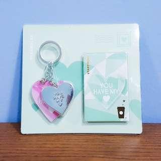 Starbucks Valentine Keychain + 2 cards