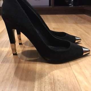 Top shop black suede stilettos with gold tips