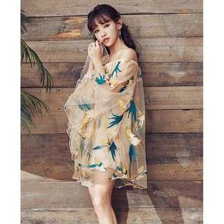 🚚 平口雪紡紗喇叭袖五色彩鳥短洋裝