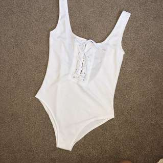 White lace up bodysuit