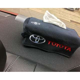 TOYOTA CAR TISSUE PAPER BOX DECOR COVER WITH EMBROIDERED LOGO- FREE MAIL DELIVERY - FIT MOST TISSUE BOX IN SG- (Dimension Of Cover Is L=24cm B=12.5cm H=9.5cm)