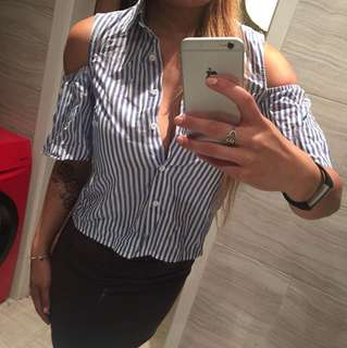 Stripe Collar Cut Out Shirt/Top
