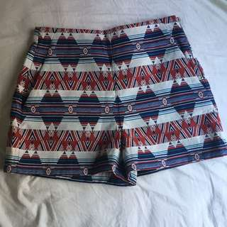 Zara festival printed tribal shorts