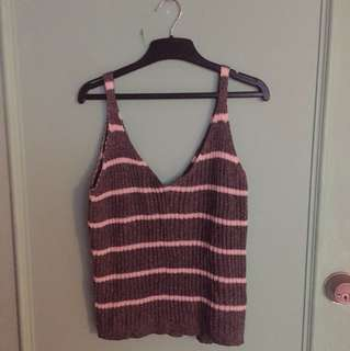 V Neck Knit Stripe Singlet