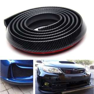 Samurai Rubber Skirt 3M Length Lip Skirt Protector Universal Car Front Lip Bumper Rubber Strip (CARBON)