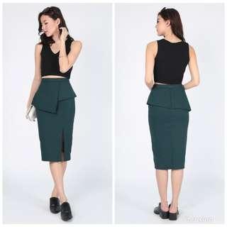 Love Bonito Yvesta Peplum Midi Skirt in Forest XS