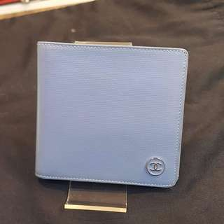 Chanel short wallet blue leather