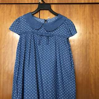Blue Polka Dot Cotton Top
