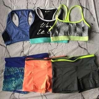 Branded sportsbra & spandex shorts
