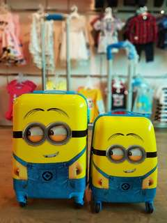1 set Minions Kid ABS 4 Wheels Luggage Travel Bag 19 Inch and 15 Inch Cabin Size