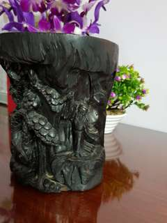 Black Wood Vase H 19cm D 16cm