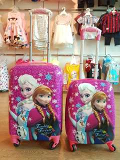 1 set Frozen Kid ABS 4 Wheels Luggage Travel Bag 19 Inch and 15 inch Cabin Size