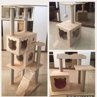 (NEW!)solid pine wood cat tree condo scratch post house bed