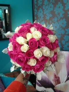Pink & White Rose Bouquet - Emma