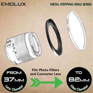 Emolux Stepping Ring ★Camera Lens to Filter/Converter Lens/Cap★ for DSLR and mirrorless cameras ★Wide Range Available★