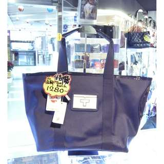 Tory Burch Blue Pvc Canvas Shoulder Shopping Tote Hand Bag 汤丽柏琦 藍色 帆布 防水物料 手挽袋 手袋 肩袋 袋 購物袋