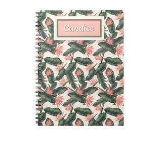 Personalized Notebooks - Tropical Banana Leaves