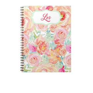 Personalized Notebooks - Watercolor Orange Floral