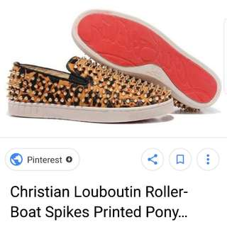 authentic christian louboutin roller boat spike printed calf skin