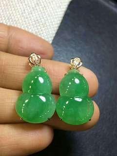 (A貨) 滿冰陽綠寶葫蘆一對翡翠