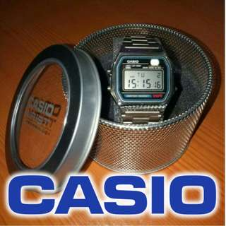 CASIO Watch with Led Light Water Resistant (3style metal)