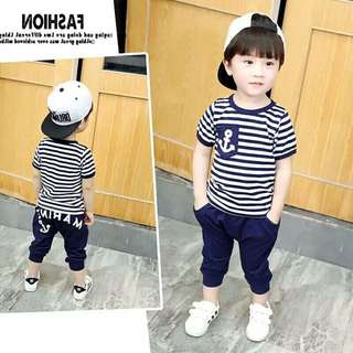 Gs Baby Tracksuit 2pcs clothing  set  for Boys Navy stripe