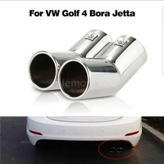 Twin Pipes Stainless Steel Exhaust Tail Pipes Muffler Tips for VW Golf 4 Bora  (25)
