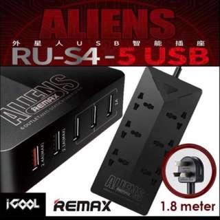 Remax RU-S4 Aliens 6 outlets 5 USB slot *LAST 3 SET*