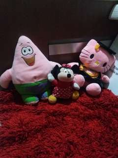 For sale sepaket boneka lucu dapat 3 skaligus hello kitty, mini mouse, patrick sponge bob #hehe
