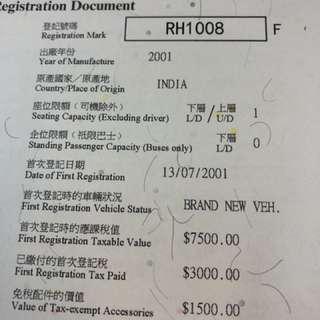 車牌 Car Plate No. - RH1008