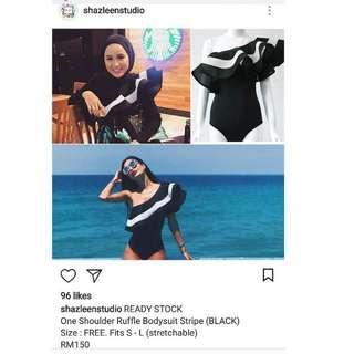 Black Ruffle Bodysuit