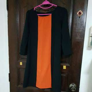 Orange black panel dress