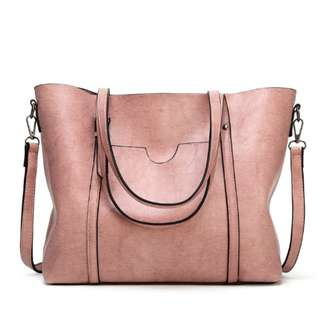 Korean Leather Shoulder Tote Bag with Pocket
