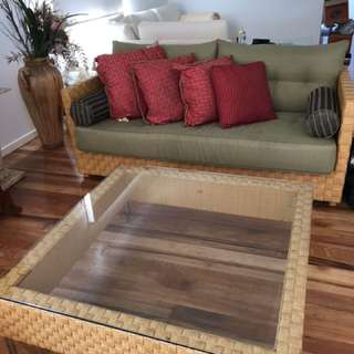 Bamboo couch & glass table